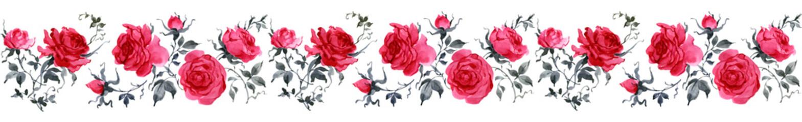 Watercolor Roses seamless border virginia