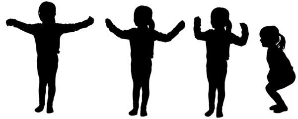 Vector silhouette of little girl.