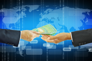 Businessman hands receiving money - Australian dollars