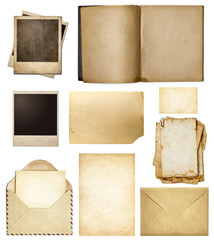 Old mail, paper, book, polaroid frames, stamp isolated collectio