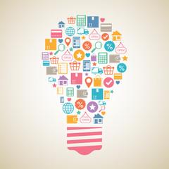 Internet shopping creative light bulb