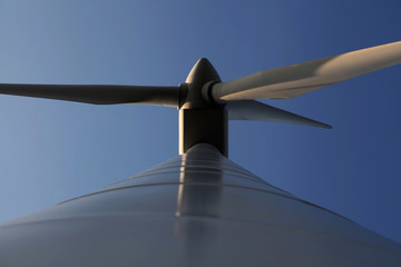 Under the swing of a large wind turbine