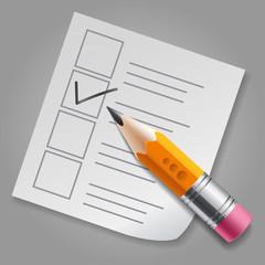 Orange pencil and checklist