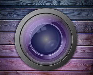 Camera Lens on the Colorful Wall