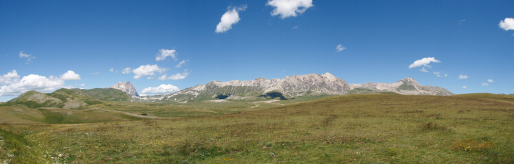 The park of Rocca Calascio, view on the Gran Sasso Mountain