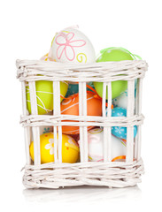 Colorful easter eggs basket