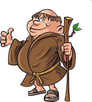 Cartoon monk holding a stick