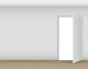 Open White Door on a White Wall Vector Illustration