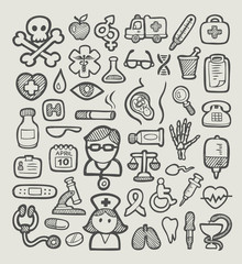 Medical or Hospital Icons Sketch Vector