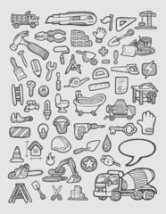 Construction Icons Sketch Vector