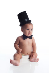 Baby Boy with Top Hat and Bow Tie
