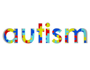 Autism Word Puzzle Piece Background Symbol Hope Research