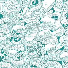 Wall Mural - Sea seamless pattern