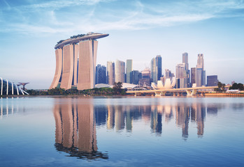 Singapore skyline at sunrise.