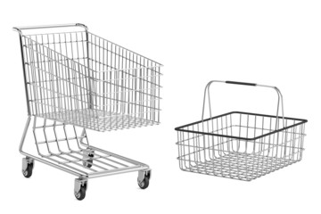realistic 3d render of shopping cart and basket