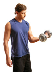 Man doing one arm bicep curl