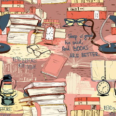 Books reading seamless background