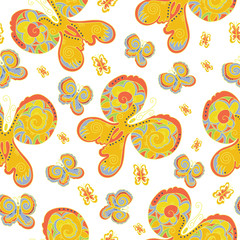 Seamless texture with butterflies.Vector pattern