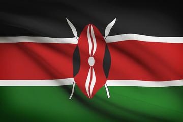 Series of ruffled flags. Republic of Kenya.