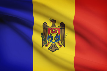 Series of ruffled flags. Republic of Moldova.
