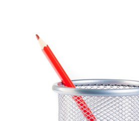 red pencil in container isolated