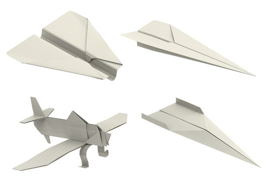 realistic 3d render of origami planes