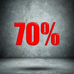 70 percent on concrete wall