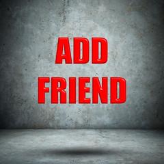 add friend on concrete wall