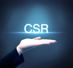 Business person raising hand with CSR concept