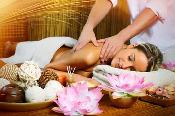 Spoed Foto op Canvas Zen Beautiful woman having massage.