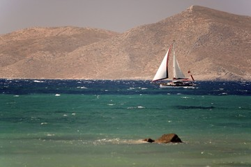 Sailboat in Agean sea