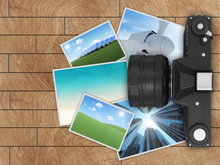 Retro Camera with Photos on wooden background. Top View