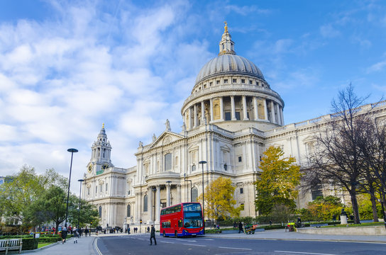 St. Paul's Cathedral and red double-deckers, London, UK