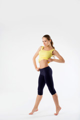 sport fitness woman, young healthy girl doing exercises, full le
