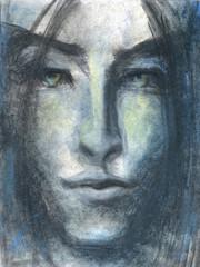 Face of sensual beautiful young man.Drawing