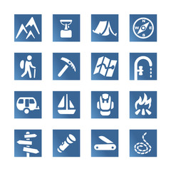 Hiking set icons