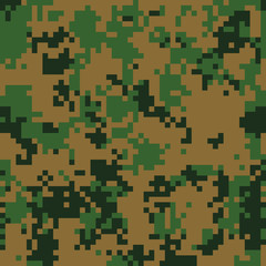 Forest digital camouflage seamless pattern