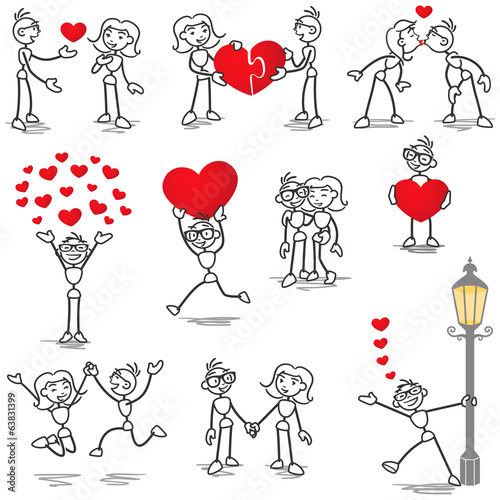 Quot Stickman In Love Hearts Holding Hands Kissing Quot Fichier