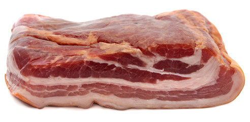 piece of meat smoked bacon isolated white background.