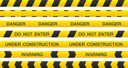 Set of 7 isolated seamless warning tapes with and without text