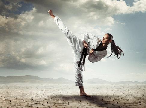 Karate girl kick