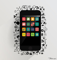Touchscreen device with application icon. Vector illustration.