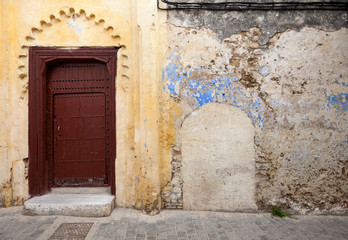 Wall Mural - Wall fragment in old Medina, historical part of Tangier, Morocco