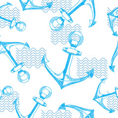 Seamless vector pattern with anchors and waves.