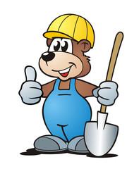 Bear with Helmet and Shovel