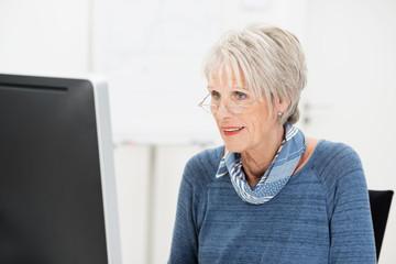 ältere frau arbeitet am computer
