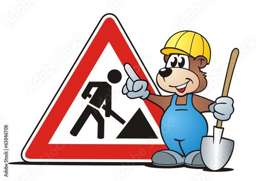 Baustelle schild comic  Bären Baustelle