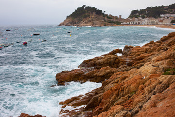 Rocks and waves of the Mediterranean Sea