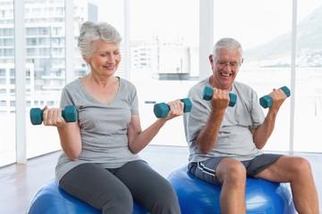 Happy senior couple sitting on fitness balls with dumbbells