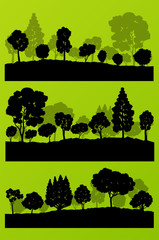 Forest trees silhouettes landscape illustration collection backg